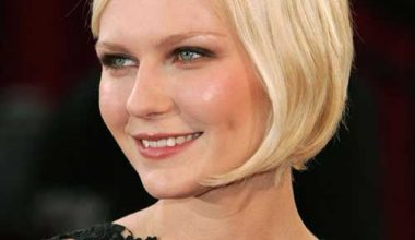 Short Blonde Straight Bob Hairstyle with Side Swept Bangs