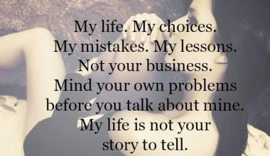 My Life my choices My mistakes