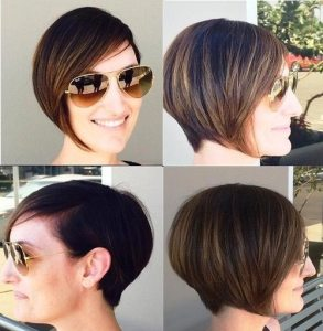 Amazing asymmetrical brunette bob with gold-blonde highlights