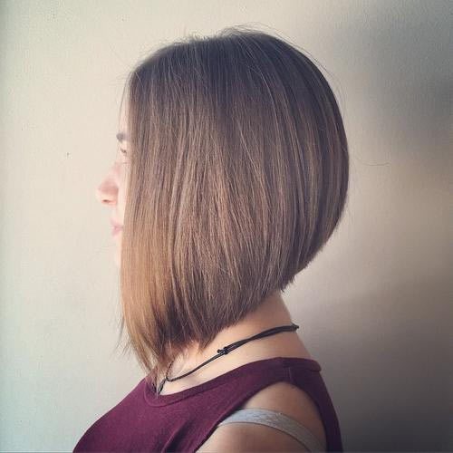 Elegant medium length A-line bob on beige-blonde hair