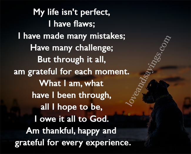 My life isn't perfect, Imperfection