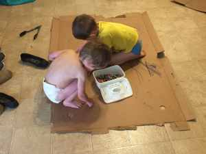 boys and cardboard crafts