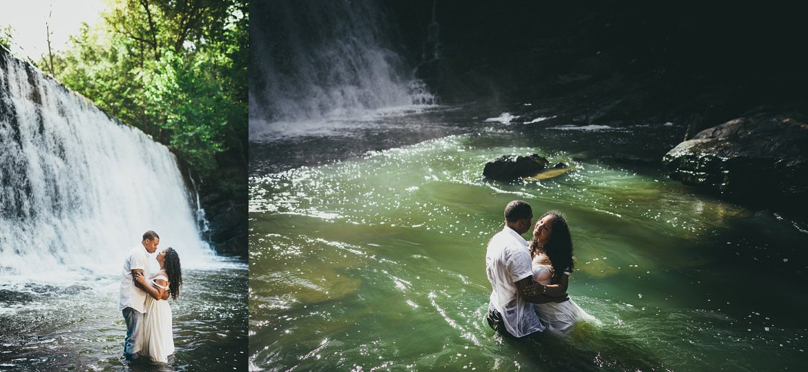 Vickery Falls at Roswell Mill Adventure Engagement Session Atlanta Wedding Photographers