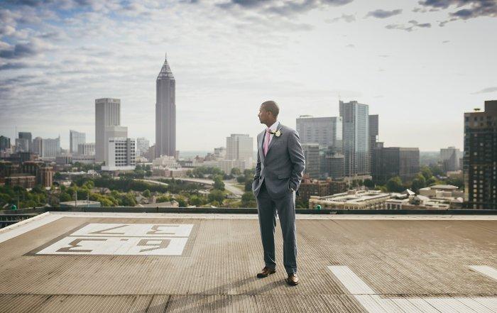 Atlanta Wedding Photographers Ventana's Rooftop Groom Portrait City Skyline