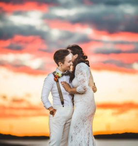 Bride and Bride Sunset Photo Bright Colors, Atlanta Wedding Photographers