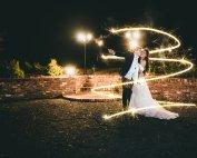 Sparkler Swirl Bride and Groom Night Shot Barn Wedding Atlanta Wedding Photographers