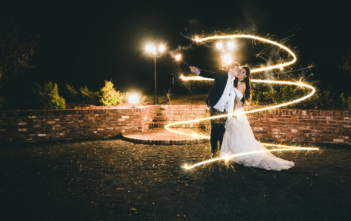 Sparkler Swirl Bride and Groom Night Shot Barn Wedding Atlanta Wedding Photographers