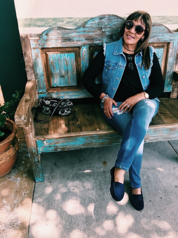 Carmen on Blue Bench