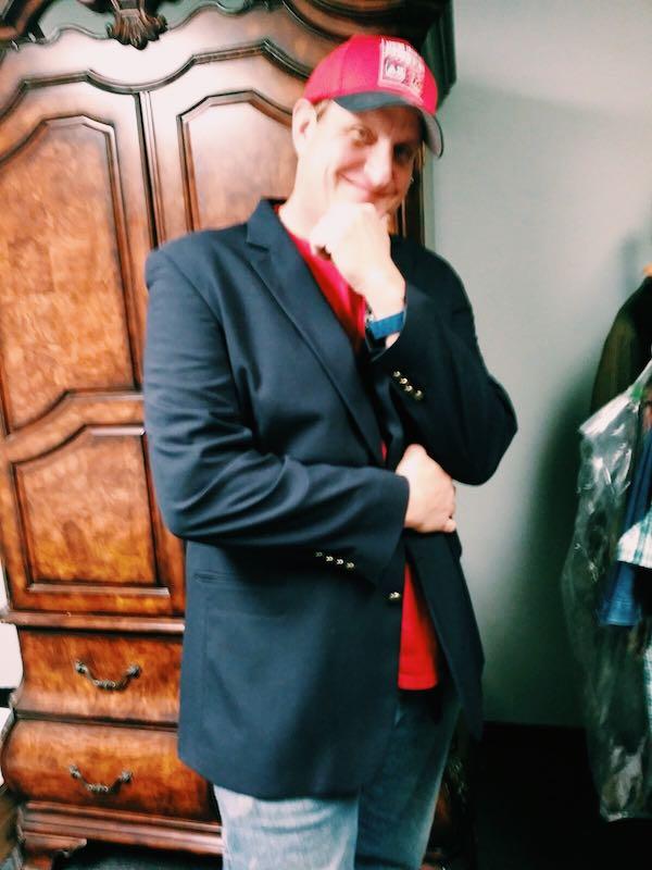 Chris Trying On His Blazer