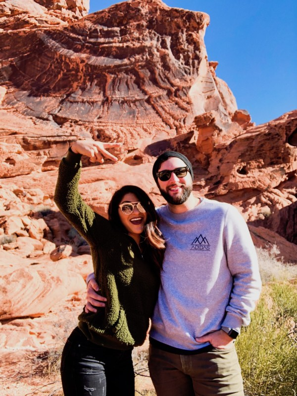 Husband And Wife Hike At Valley Of Fire