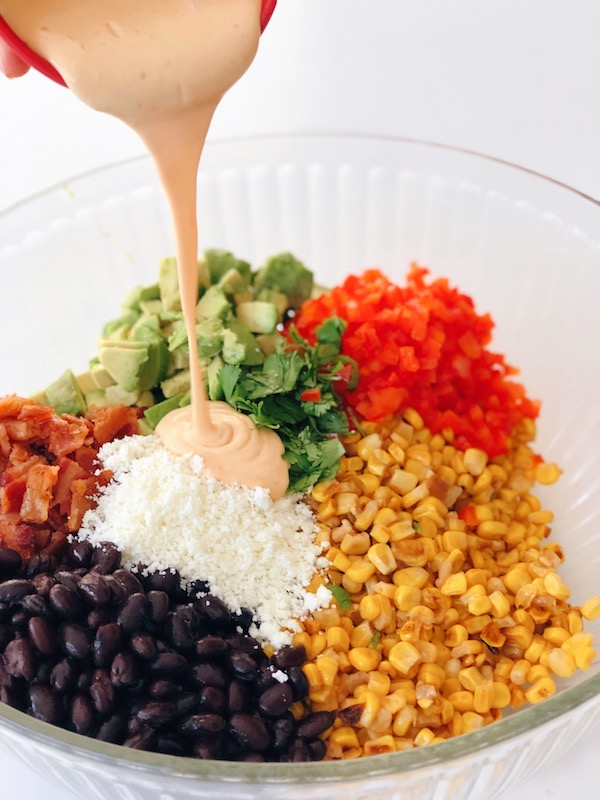 Mexican Corn Salad coupled with this wonderful Chipotle Mayo Dressing is the perfect match.