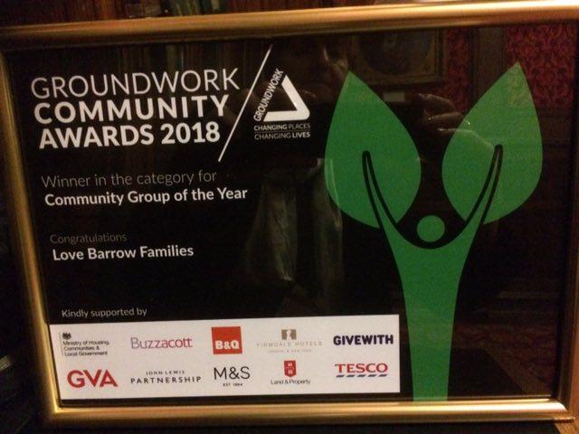 Yay! We won the Groundworks Community Group 2018 Award