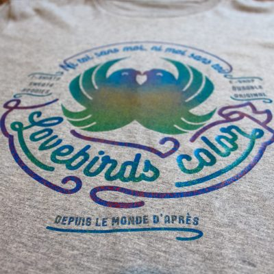 T-shirt Lovebirds color 100% coton bio