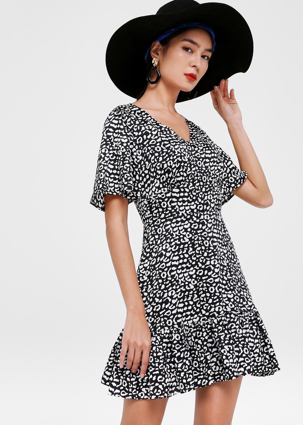 Audrina Flare Hem A-line Dress in Femme Feline