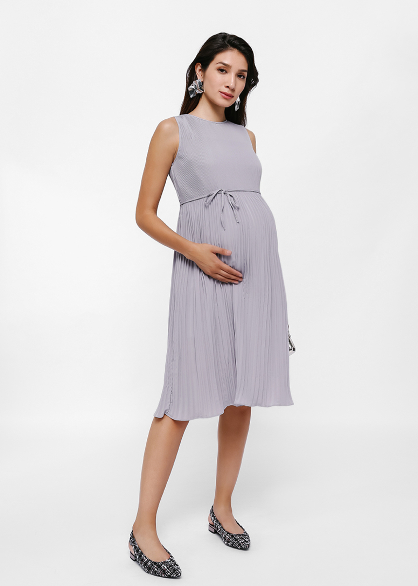 Illia Pleated Swing Dress