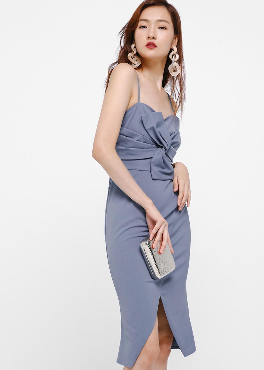 Axora Twist Front Midi Dress
