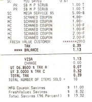 Smith's Shopping Trip 7/14/10 – 96% savings