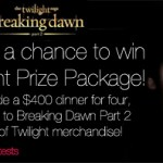 Breaking Dawn Prize Package Giveaway (ends 11/14)
