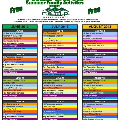 Weber County ramp Activities  Calendar 2013 (free admission to local attractions)