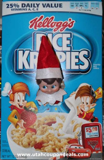 Elf on the Shelf Ideas - Rice Krispies Box