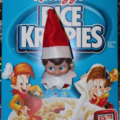 Elf on the Shelf Ideas – Rice Krispies Box