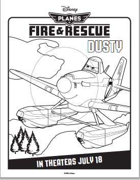Fire: Planes and Rescue Coloring Pages - Dusty