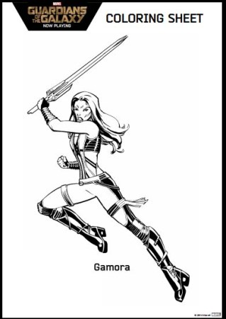 Guardians of the Galaxy Coloring Pages Gamora