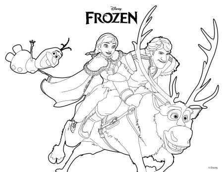FROZEN Anna, Olaf, Kristoff and Sven Coloring Page