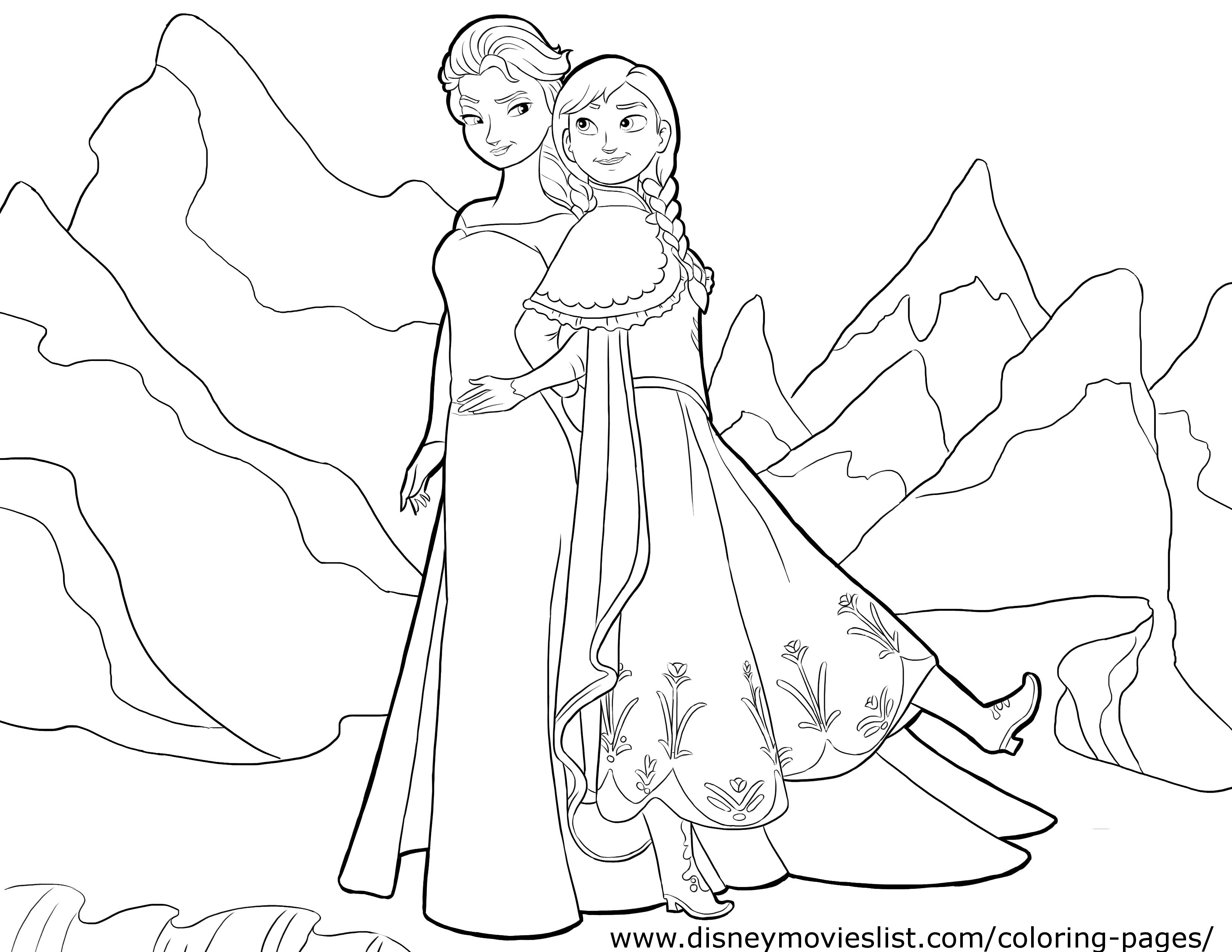 frozen elsa anna coloring page - Frozen Elsa And Anna Coloring Pages
