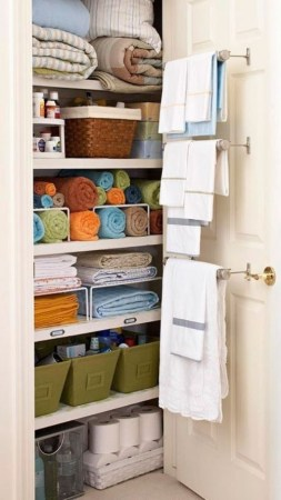 Use organizer like totes, baskets and boxes to make the most out of a small space.