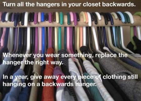 I am going to do this in my closet. It is perfect. A year will give you a chance to go through all of the seasons. Donate what you don't wear to the shelters.