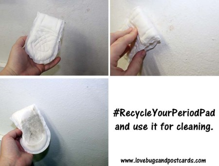 Recycle your Period Pad and use it for cleaning