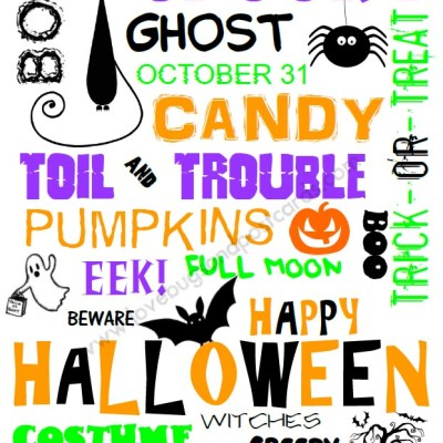 Halloween Word Art Printable