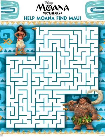 Disney's MOANA Maze Activity Sheet
