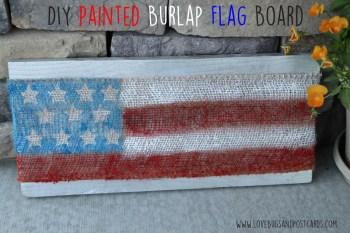 DIY Painted Burlap Flag Board