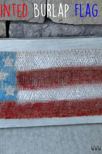 DIY Painted Burlap USA Flag Board