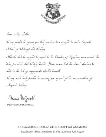 Harry Potter Acceptance Letter