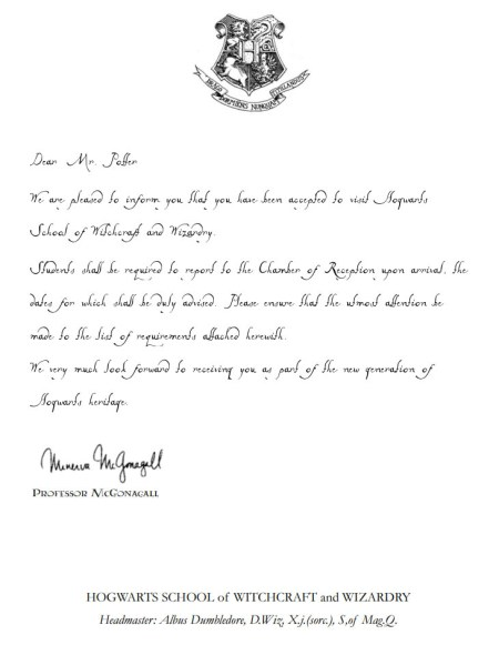 Harry Potter Acceptance Letter