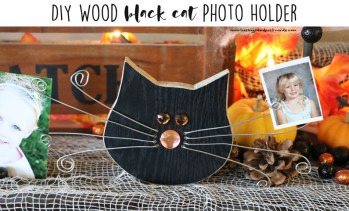 DIY Wood Black Cat Photo Holder