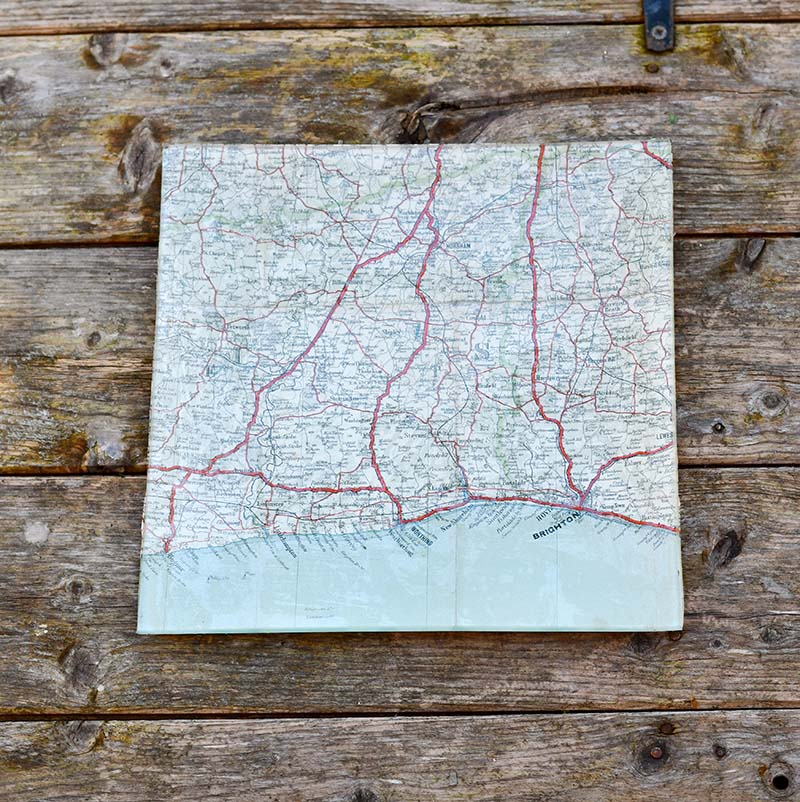 DIY Decoupage Glass Map Tray Father's Day Gift