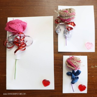 DIY Burlap Rose Valentine's Card