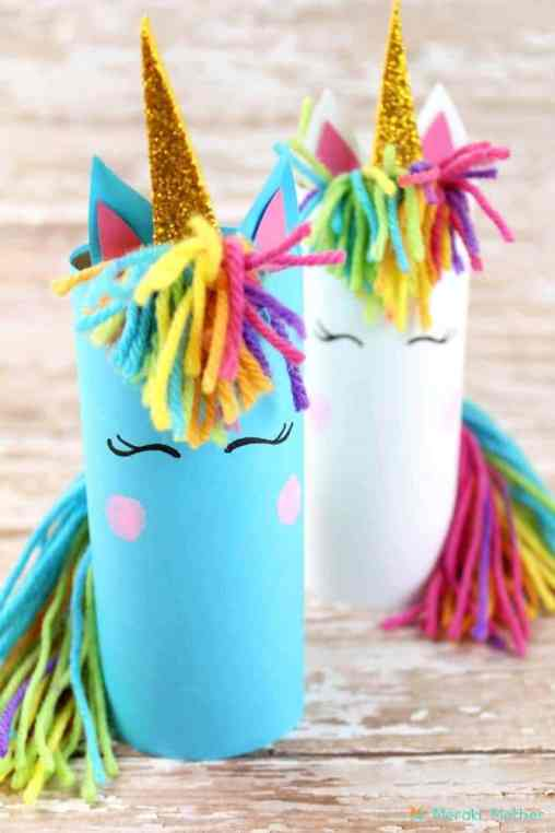 Unicorn Birthday Party Ideas - Unicorn Toilet Paper Roll Craft