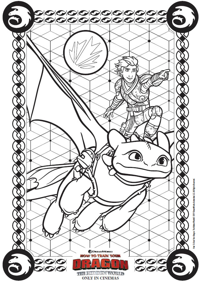 How to Train Your Dragon: The Hidden World Activity Sheets - Toothless and Hiccup coloring page