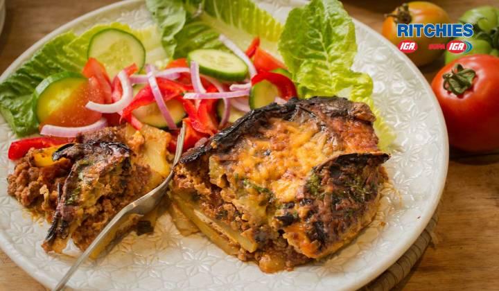 Eggplant and potato moussaka