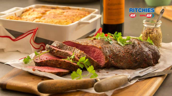 butterfly beef roast with creamy potato gratin