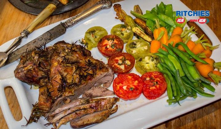 Summer lamb roast with rosemary and garlic