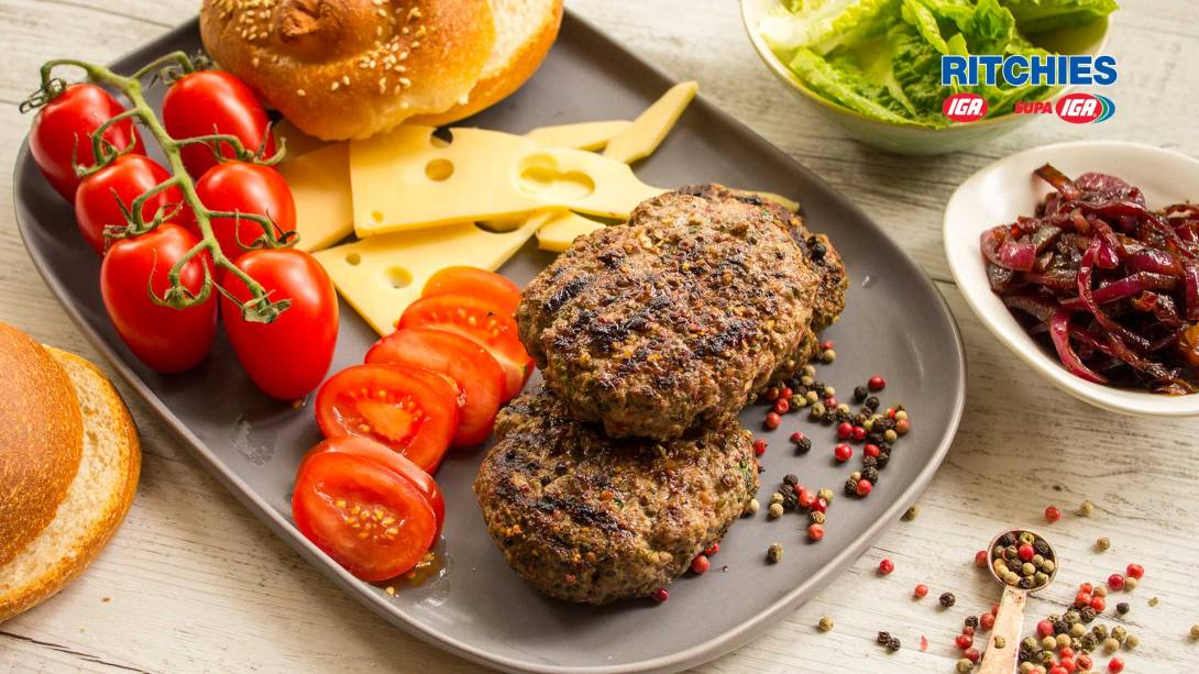 pepper steak burger with red onion relish