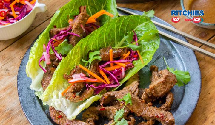 Korean beef and pickled vegetable lettuce wraps