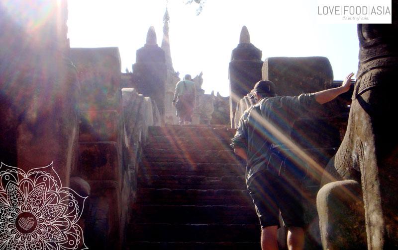 Climbing a temple