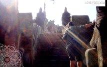 Climbing a temple in Bagan